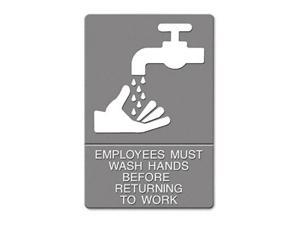 Headline Sign ADA Sign EMPLOYEES MUST WASH HANDS... Tactile Symbol/Braille 6 x 9
