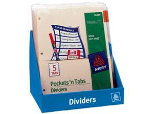 """Avery 81009 Insertable 5-Tab Dividers 5 - 8.88"""" Divider Width x 11"""" Divider Length - 5 / Set - Assorted Divider - Multicolor Tab"""