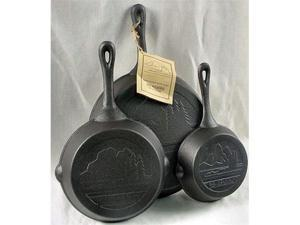 Old Mountain Cast Iron Preseasoned 3pc Skillet Set