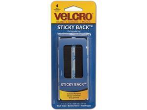 90075 VELCRO STICKY BACK STRIP 3 4X3 5 BLACK 4PC