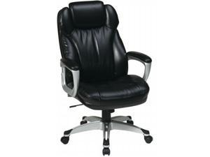 Office Star Ech85806 Ec3 Executive Eco Leather Chair With Padded Arms Coated Base And