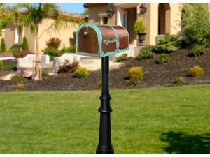 QualArc MB-3000-PAT-HP800-BL Provincial Collection Brass Mailbox in Antique Brass Patina with decorative Hanford No.8 Fluted base post in Black