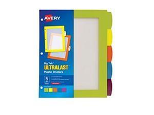 Avery-Dennison 24900 Big Tab Ultralast Plastic Dividers, 5-Tab - 8.5 x 11 in.