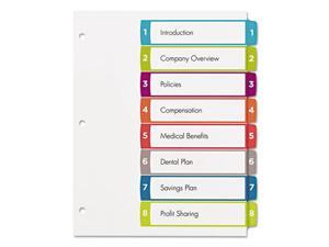 Avery-Dennison 11841 Ready Index Table Of Contents Dividers, 1-8 Letter