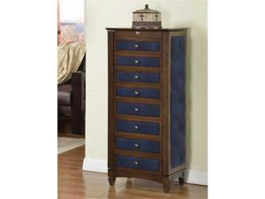 Nathan Direct J1248ARM-L-COF 8 Drawer Jewelry Armoire With Cushions - Coffee