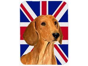 Large Carolines Treasures LH9502LCB Dachshund with English Union Jack British Flag Glass Cutting Board Multicolor