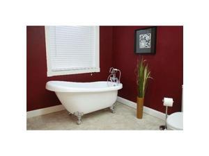 Cambridge Plumbing Inc AST61-150-PKG-BN-NH Acrylic Slipper Bathtub 61 x 30 in. with No Faucet Drillings and Complete Brushed Nickel Plumbing Package