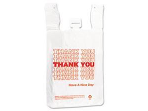 Inteplast Group THW2VAL 12 x 7 x 13 in. 14 Microns T-Shirt Thank You Bag - White