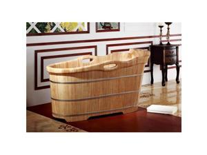ALFI Brand AB1187 57 in. Free Standing Wooden Soaking Bathtub with Headrest