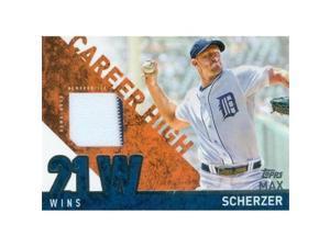 Autograph Warehouse 343305 Max Scherzer Player Worn Jersey Patch Baseball Card - Detroit Tigers, Washington Nationals 2015 Topps Career High No. CHR-MS