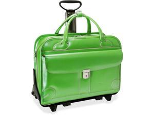 McKlien 96611 Lakewood 96611- Green Leather Fly-Through Checkpoint-Friendly Detachable-Wheeled Ladies Briefcase
