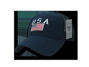 Rapid Dominance A13-USA-NVY USA Text Ripstop Trucker Cap, Navy