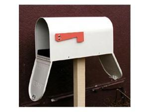 Special Lite Products SCF-1003-TD-WH Floral Curbside Mailbox with Two Doors, White