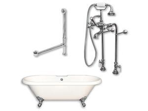 Cambridge Plumbing ADE-150-PKG-BN-NH Acrylic Double Ended Clawfoot Bathtub With No Faucet Drillings, 70 x 30 in.