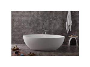 ALFI brand AB9941 67 in. White Oval Solid Surface Smooth Resin Soaking Bathtub