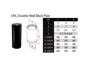 M & G Duravent 6DVL-24 6 Inch  x 24 Inch  Dura-Vent DVL  Double-Wall Black Pipe