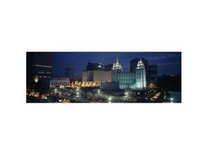 Panoramic Images PPI83144L Temple lit up at night  Mormon Temple  Salt Lake City  Utah  USA Poster Print by Panoramic Images - 36 x 12