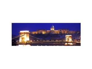 Panoramic Images PPI68767L Chain Bridge  Royal Palace  Budapest  Hungary Poster Print by Panoramic Images - 36 x 12