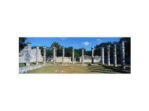Panoramic Images PPI161196L A Panoramic View of Columns Surround Grassy Courtyard for Ballgames At Chichen Itza Mayan Ruins in The Yucatan Peninsula Mexico Poster Print, 36 x 12