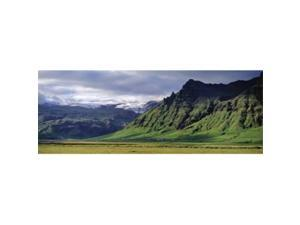 Panoramic Images PPI88947L View Of Farm And Cliff In The South Coast  Sheer Basalt Cliffs  South Coast  Iceland Poster Print by Panoramic Images - 36 x 12
