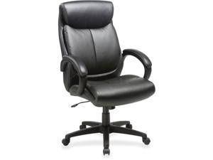 Lorell LLR59497 28x 31.8 x 45.5 in. High Back Leather Chair - Black