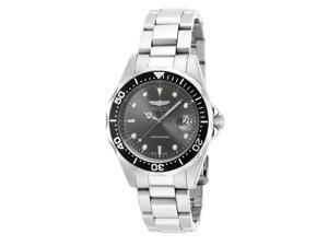 Invicta ILE8932A Mens Pro Diver Quartz 3 Hand Dial Watch, Charcoal
