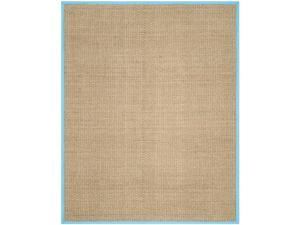 Safavieh NF114S-8 Natural Fiber Power Loomed Large Rectangle Area Rug, Natural & Turquoise - 8 x 10 ft.