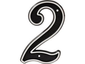 Hillman Group 845894 6 in. Gray & Black Reflective Plastic House Number - 2