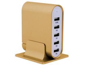 Trexonic TRX-USB5700GLD 7.1A 5-Port Universal USB Compact Charging Station - Gold