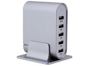 Trexonic TRX-USB5700SLVR 7.1A 5-Port Universal USB Compact Charging Station - Silver