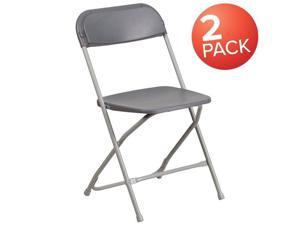Flash Furniture 2-LE-L-3-GREY-GG Hercules 650 lbs Premium Grey Plastic Folding Chair - Pack of 2