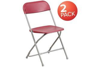Flash Furniture 2-LE-L-3-RED-GG Hercules 650 lbs Premium Red Plastic Folding Chair - Pack of 2