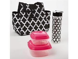 Medport 989FF456 Insulated Designer Lunch Bag Kit with Fresh Selects Container Set & Patterned Water Bottle
