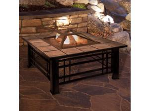 Pure Garden 50-FP187 32 in. Square Wood Burning Tile Fire Pit Set