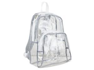 Eastsport 2326925 Clear Printed Strap Backpack, White - Case of 12