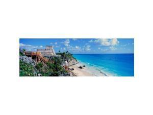 Panoramic Images  A Panoramic of Mayan Ruins of Ruinas De Tulum, Tulum Ruins & El Castillo At Sunset with Beach & Caribbean Sea in Quintana Roo Yucatan Peninsula Mexico Poster Print, 36 x 12