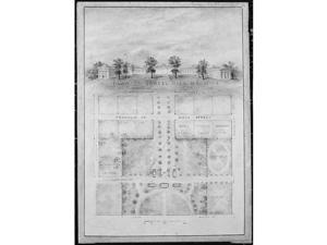University of North Carolina Chapel Hill, Distant Perspective & Plan of Grounds Poster Print by Alexander Jackson Davis, American New York 1803 1892 West Orange New Jersey, 18 x 24