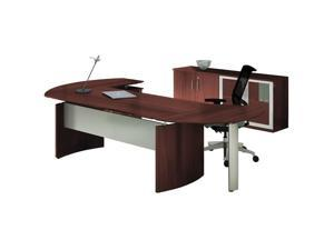 Mayline MNT7LMH 63 in. Medina Series Typical Suite 7 Office Desk - Mahogany - 29.5 x 107 x 103 in.