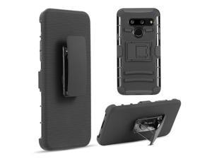 LG HSCLGG8-HSTD-BKBK Hybrid Case with Skin Plus PC & H Style Stand for LG G8 ThinQ T-Mobile - Black