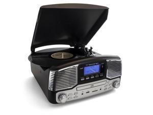 Trexonic TRX-16BLK Retro Wireless Bluetooth, Record & CD Player in Black