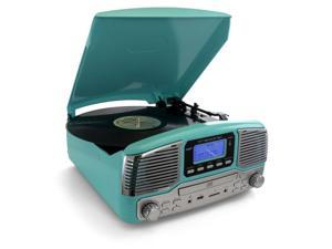 Trexonic TRX-16TRQ Retro Wireless Bluetooth, Record & CD Player in Turquoise