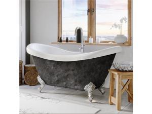 Cambridge Plumbing ADES-NH-CP-SP 68 x 28 in. Scorched Platinum Acrylic Double Ended Slipper Bathtub with No Faucet Drillings & Polished Chrome Feet