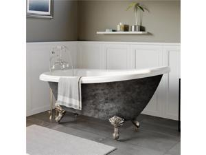 Cambridge Plumbing AST67-DH-BN-SP 67 in. x 28 in. Scorched Platinum Acrylic Slipper Bathtub with 7 in. Deck Mount Faucet Holes & Brushed Nickel Ball & Claw Feet