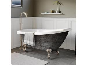 Cambridge Plumbing AST67-NH-BN-SP 67 in. x 28 in. Scorched Platinum Acrylic Slipper Bathtub with No Faucet Holes & Brushed Nickel Ball & Claw Feet