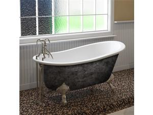 Cambridge Plumbing ST61-DH-CP-SP 61 x 30 in. Scorched Platinum Cast Iron Slipper Bathtub with 7 in. Deck Mount Faucet Holes & Polished Chrome Feet