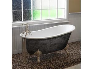 Cambridge Plumbing ST61-DH-BN-SP 61 x 30 in. Scorched Platinum Cast Iron Slipper Bathtub with 7 in. Deck Mount Faucet Holes & Brushed Nickel Feet