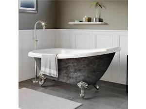 Cambridge Plumbing AST67-NH-CP-SP 67 in. x 28 in. Scorched Platinum Acrylic Slipper Bathtub with No Faucet Holes & Polished Chrome Ball & Claw Feet