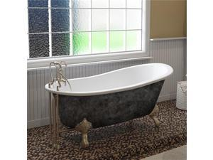 Cambridge Plumbing ST67-DH-BN-SP 67 in. x 30 in. Scorched Platinum Cast Iron Slipper Bathtub with 7 in. Deck Mount Faucet Holes & Brushed Nickel Ball & Claw Feet
