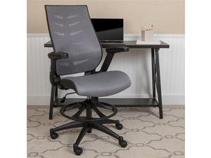 Flash Furniture BL-ZP-809D-DKGY-GG High Back Dark Gray Mesh Spine Back Ergonomic Drafting Chair with Adjustable Foot Ring & Adjustable Flip Up Arms