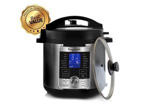Megachef MCPR-6100 6 qt. Electric Digital Pressure Cooker with Lid, Stainless Steel